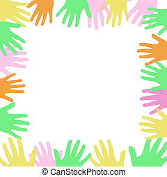 colorful hands frame around a blank center