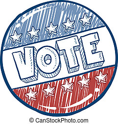 Doodle style vote in the election campaign button illustration in vector format.