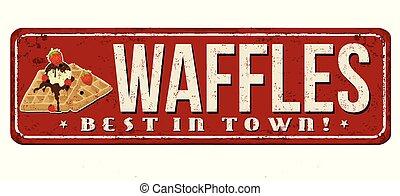 Waffles vintage rusty metal sign