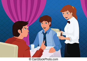 A vector illustration of a waiter in a restaurant serving customers