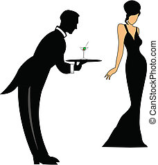 waiter serving a martini to lady in gown
