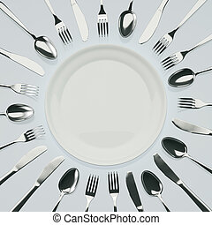 Knifes, forks and spoons around dinner plate. 3D image.