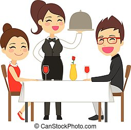 Happy waitress serving on restaurant to lovely elegant couple