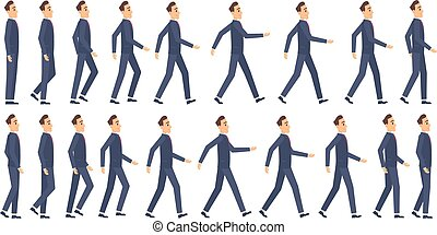 Walking animation. Business characters 2d animation key frames game cartoon sprite vector mascot