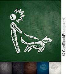 walking the dog icon. Hand drawn vector illustration. Chalkboard Design