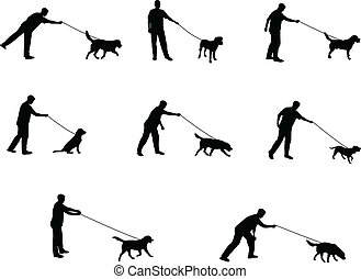 walking the dog silhouettes