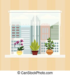 Wall of room with window, curtain and pots with flowers