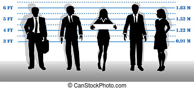 A company of most wanted white collar business people lined up in a line up.