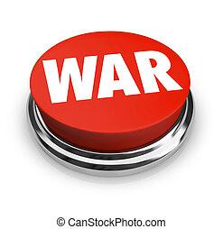 War - Word on Round Red Button