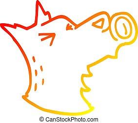warm gradient line drawing cartoon howling wolf