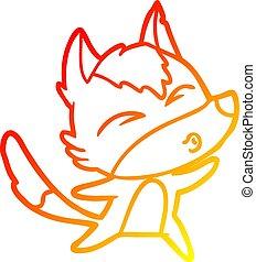 warm gradient line drawing cartoon wolf howling