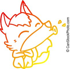 warm gradient line drawing howling wolf cartoon
