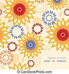 Vector warm vibrant floral abstract frame corner pattern background