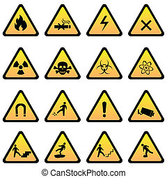 Warning and danger signs icon set
