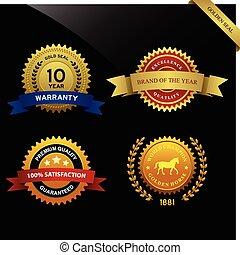 A set of warranty guarantee seal award badge.