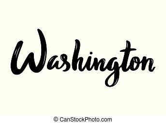 Washington handwritten calligraphy name of USA capital. Hand drawn brush calligraphy. Vector Design Template.