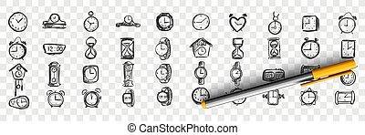 Watches doodle set