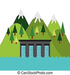 water dam and mountains landscape. colorful design. vector illustration
