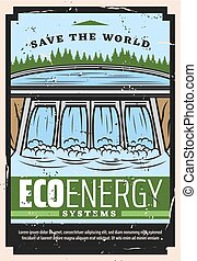 Eco energy vector design with water dam of Save the World ecology concept. Hydro power plant or hydroelectric station with hydropower turbine and waterfall. Renewable resources of electricity themes