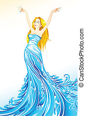 illustration of lady coming out of splash of water