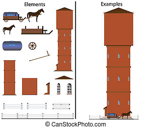 The file contains elements for drawing and a ready example of a rural water tower.