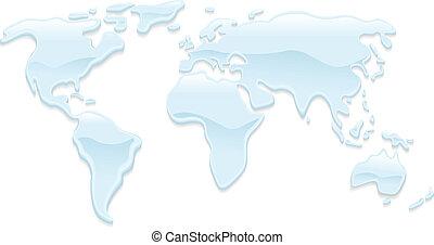 Water world map illustration