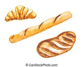 watercolor bread set, vector illustration