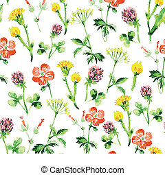 Watercolor floral seamless pattern. Vintage retro summer background with wildflowers