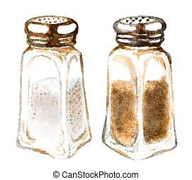 watercolor salt and pepper shakers
