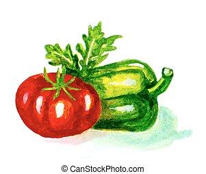 watercolor tomato and green pepper