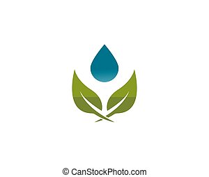 waterdrop with leaf logo vector icon illustration design