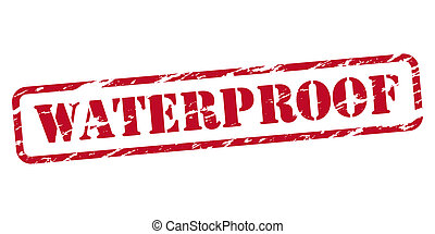 Waterproof rubber stamp on white background