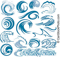 Clip art of abstract blue wave designs and shapes
