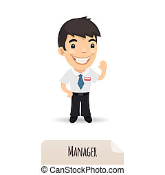 Waving Manager. In the EPS file, each element is grouped separately. Isolated on white background. JPG with paths.