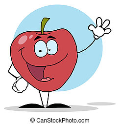 Waving Red Apple Character