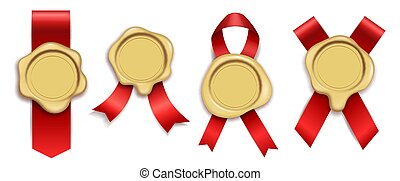 Wax gold. Rubber vintage document envelope seals royal mail, red ribbons with candle waxing stamps. Luxury elements for diploma or certificate, quality assurance vector isolated set