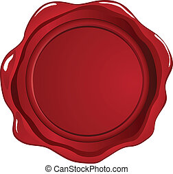 Red wax seal on white
