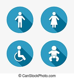 WC toilet icons. Human male or female signs. Baby infant or toddler. Disabled handicapped invalid symbol. Circle concept web buttons. Vector
