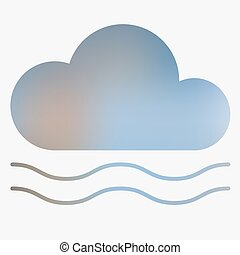 Weather flat style icon with fog. Vector illustration.