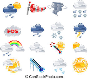 A high quality icon set relating to weather and weather forecasting.