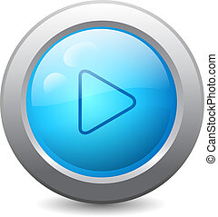3d blue round web button with play icon