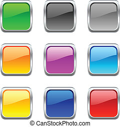 .Web shiny buttons. Vector illustration.