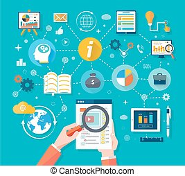 Web site analytics charts on screen of PC. SEO Search Engine Optimization programming business up trend statistics infographics diagram in flat design style. Link between information system strategy and business strategy