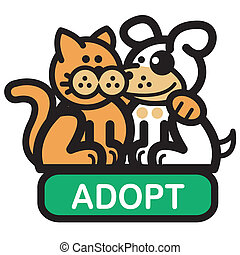 Dog and cat as friends for Adopt-A-Dog or Adopt-A-Cat or Adopt-A-Pet web, website, or webpage navigation button or icon or newsletter header clip art