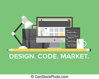 Flat design style modern vector illustration concept of web page programming, website and webpage coding, user interface elements, studio portfolio and creative market development. Isolated on stylish background