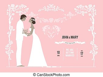 Wedding background with the bride and groom