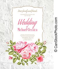 Wedding Card and engagement announcement over white wall. Wedding of Michael and Jessica. Vector illustration.