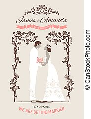 Wedding card with bride and groom