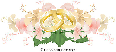 Wedding motif featuring intertwined wedding bands or rings and beautiful hibiscus flowers