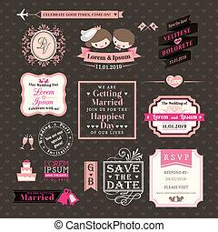 Wedding Elements labels and frames Vintage Style
